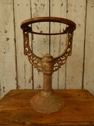 Antique Embossed Cast Iron Stand / Base Vintage Industrial / Repurposing Table photo
