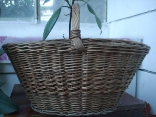 Antique Vintage Old Country Farm Gathering Basket Oval Hand Woven photo