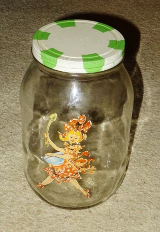 Vintage Glass Jar Canister With Lid - 10