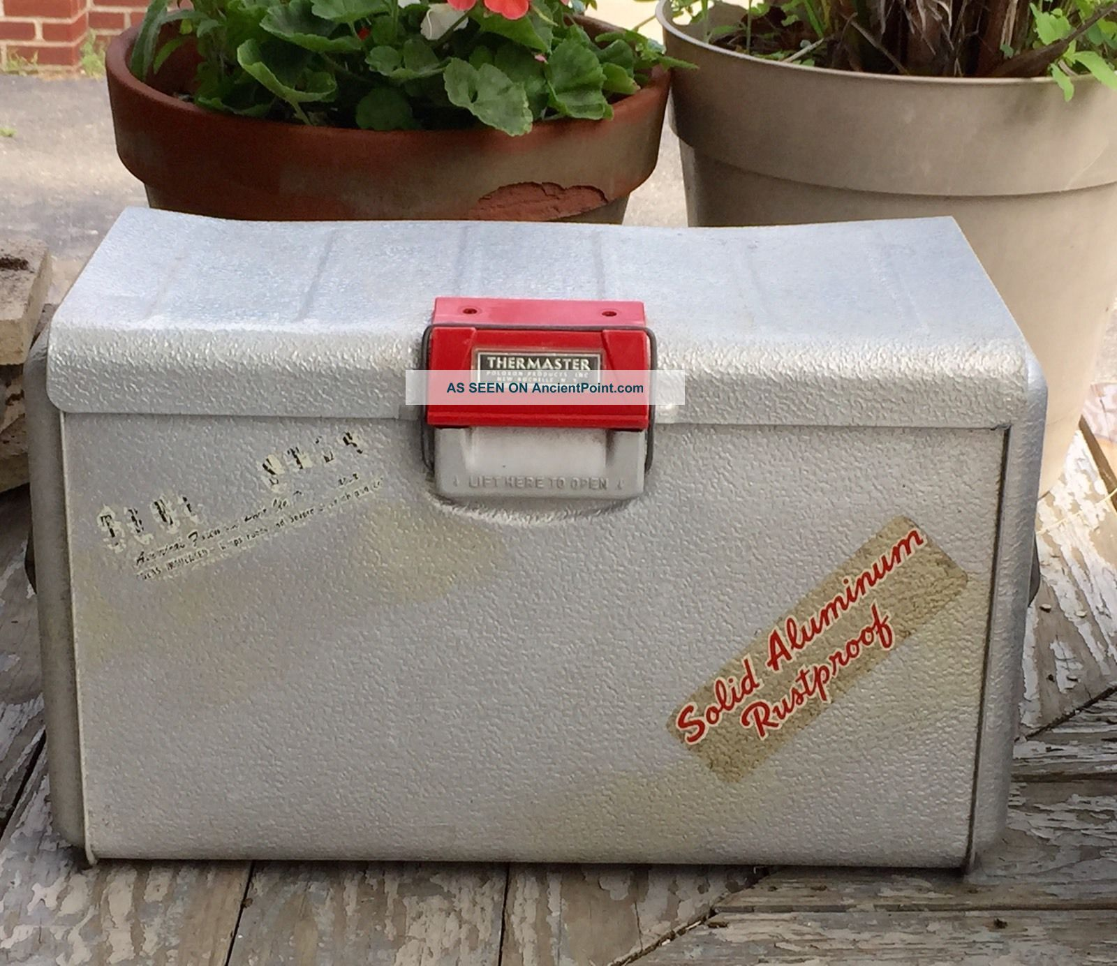 Vintage Mid Century Thermaster Poloron Cooler Aluminum Rochelle Ny Ice Chest Ice Boxes photo
