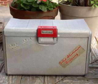 Vintage Mid Century Thermaster Poloron Cooler Aluminum Rochelle Ny Ice Chest photo