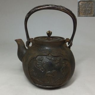 A081: Japanese Signed Iron Teakettle Tetsubin With Great Relief Work photo