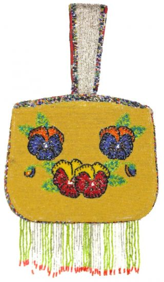 American Indian 2 Sided Beaded Bag Purse Columbia River Yakima Nez Perce Plateau photo