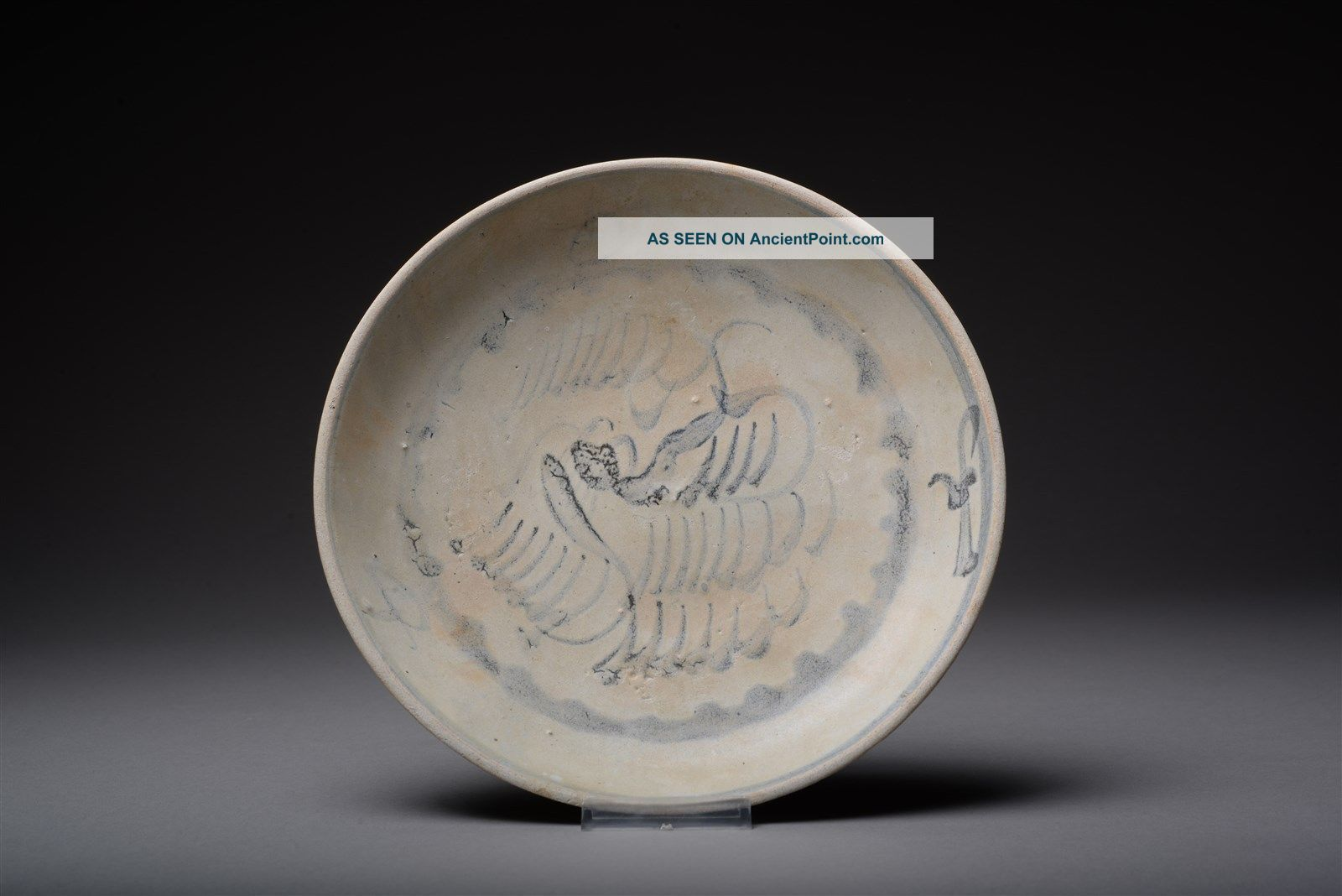 Antique Qing Dynasty Daoguang Tek Sing Shipwreck Abstract Phoenix Plate - 1822ad Other Maritime Antiques photo