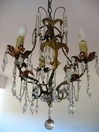 Gorgeous Delicate French Chateau Art Nouveau Chandelier Exquisite Glass Details photo