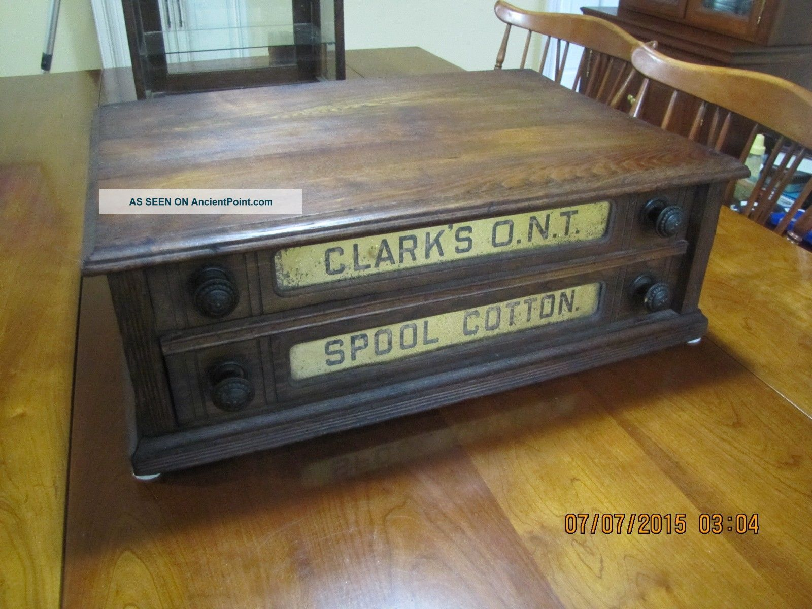 Antique Chestnut 2 Drawer Clarks Ont Country Store Spool Cabinet Thread Display Furniture photo