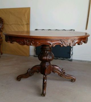 Old Antique Dining Table And 4 Chairs photo