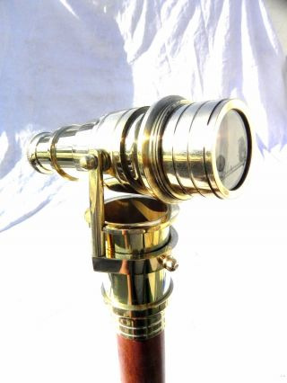 Brass Wood Walking Stick With Folding Telescope Nautical Maritime Walking Cane photo