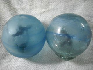2 Authentic Blue Japanese Swirled Glass Fishing Floats photo