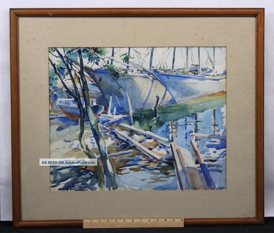 Mid - 20thc Frederick Montague Charman Moored Boats Watercolor Painting Other Maritime Antiques photo