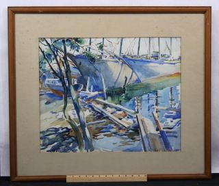 Mid - 20thc Frederick Montague Charman Moored Boats Watercolor Painting photo