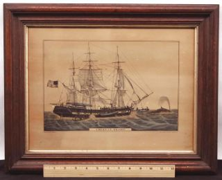 Antique 19thc N.  Currier,  American Whaler,  Whaling Harpoon,  Lithograph Print photo
