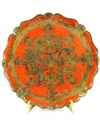 Tray Italian Florentine Orange Gold Gilt Molded Plastic? Round 15.  5