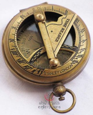 Nautical Brass Sundial Compass,  Antique Brass Vintage Camping Hiking Compass photo
