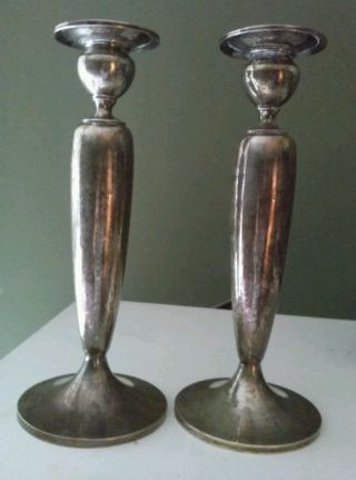 Pair Dominick & Haff/dh (1868 - 1928) Sterling Silver Weighted Candlesticks 11
