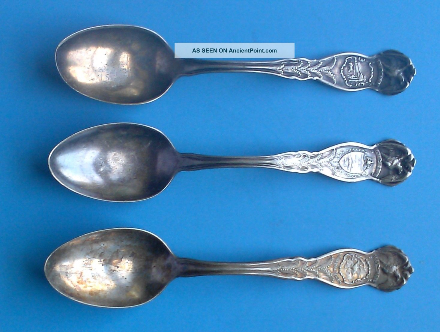 Three Wm Rogers Silverplate State Eagle Spoons Oregon,  Indiana,  And Illinois Souvenir Spoons photo