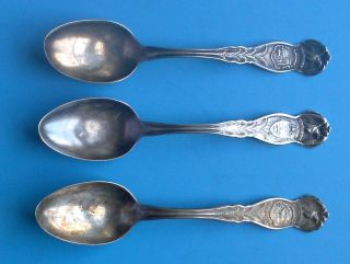 Three Wm Rogers Silverplate State Eagle Spoons Oregon,  Indiana,  And Illinois photo