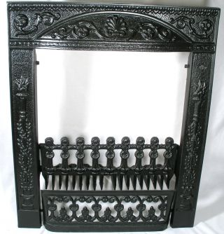 Antique Ornate Fireplace Surround Grate Front Fender Favorite Cahill Cast Iron photo
