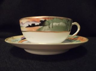 Vintage A.  A.  Vantine Landscape With Moriage Porcelain Tea Cup & Saucer - Japan photo