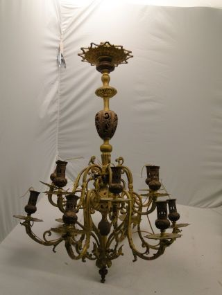 Chandellier Brass And Copper Victorian 1860 - 1890 Cast Finials,  Beautifully photo