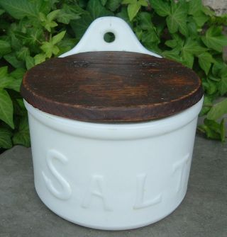 Antique Salt Box Milk Glass Wooden Lid Hinged Vgvc photo