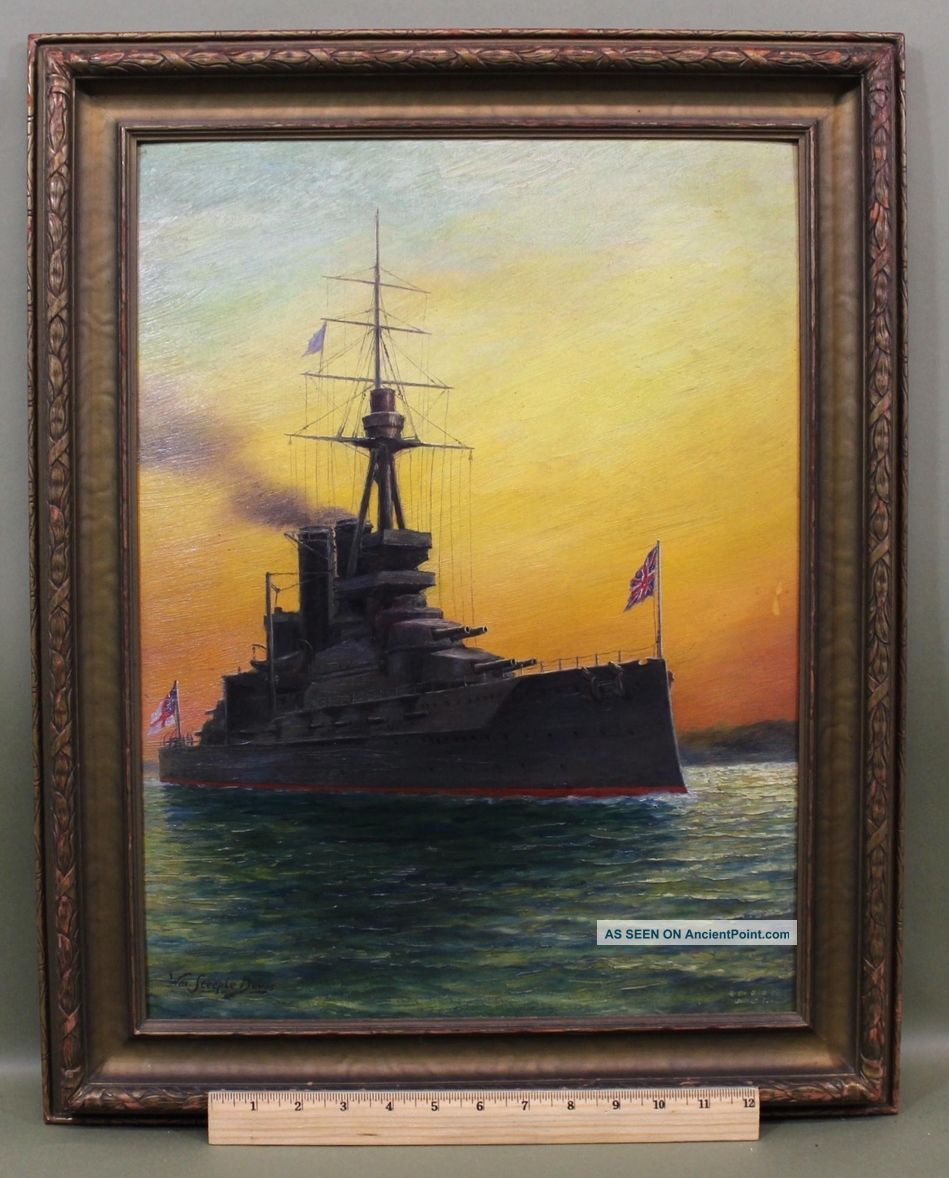 Antique William Steeple Davis Oil Painting British Navy Dreadnought Battleship Other Maritime Antiques photo