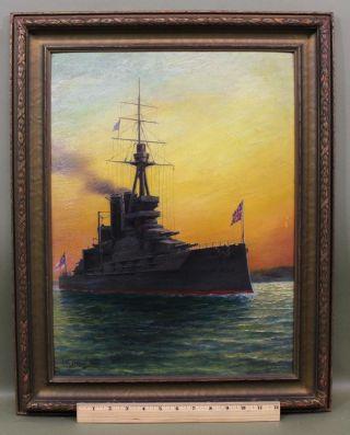Antique William Steeple Davis Oil Painting British Navy Dreadnought Battleship photo