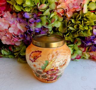Antique Pottery Silverplate Biscuit Cracker Jar Floral Flowers photo