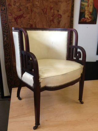 Rare Austrian Mahogany Art Deco Club / Tub Chair Machine Age Modernism 1920s photo