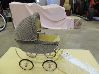 Antique 1920s Childs ' Wicker Rattan Baby Carriage / Buggy Toy Doll Carriage photo