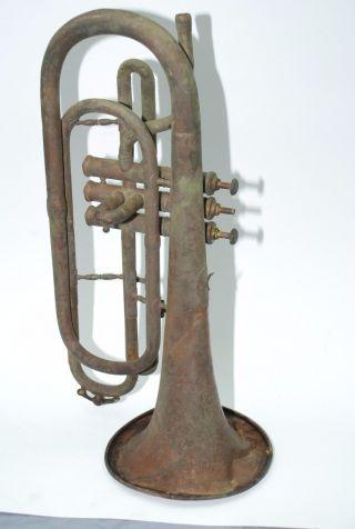 1800 ' S Jw Pepper Importer Philadelphia 28771 Trumpet Cornet Verdigris Copper Frs photo