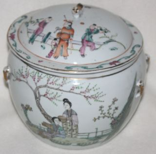 Chinese Tongzhi Dynasty 1862 - 1875 Polychrome Outdoor Scene Porcelain Lidded Pot photo