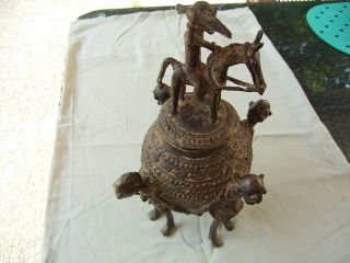 African Bronze Ritual Vessel Of Yeruba Bronze 1920 photo