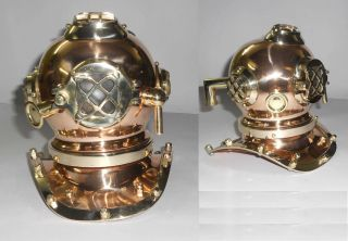 Copper & Brass Small Desk Top 8 Inch Mark V Divers Helmet Us Navy Diving Helmet photo