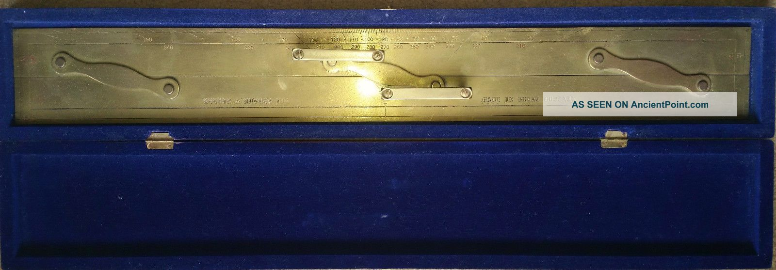 Kelvin & Hughes Brass Parallel Nautical Navigation Ruler - Orig Wood Box - England Parallel Rules photo