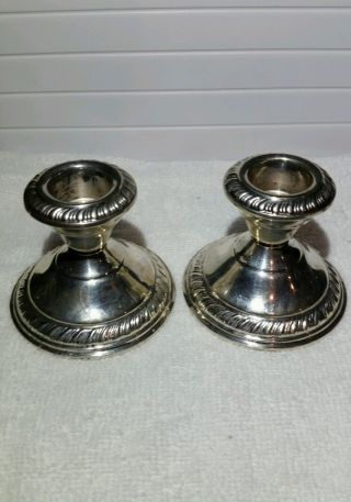 Pair Vintage Rare Schweitzer Co Sterling Silver Candleholders Candlesticks photo