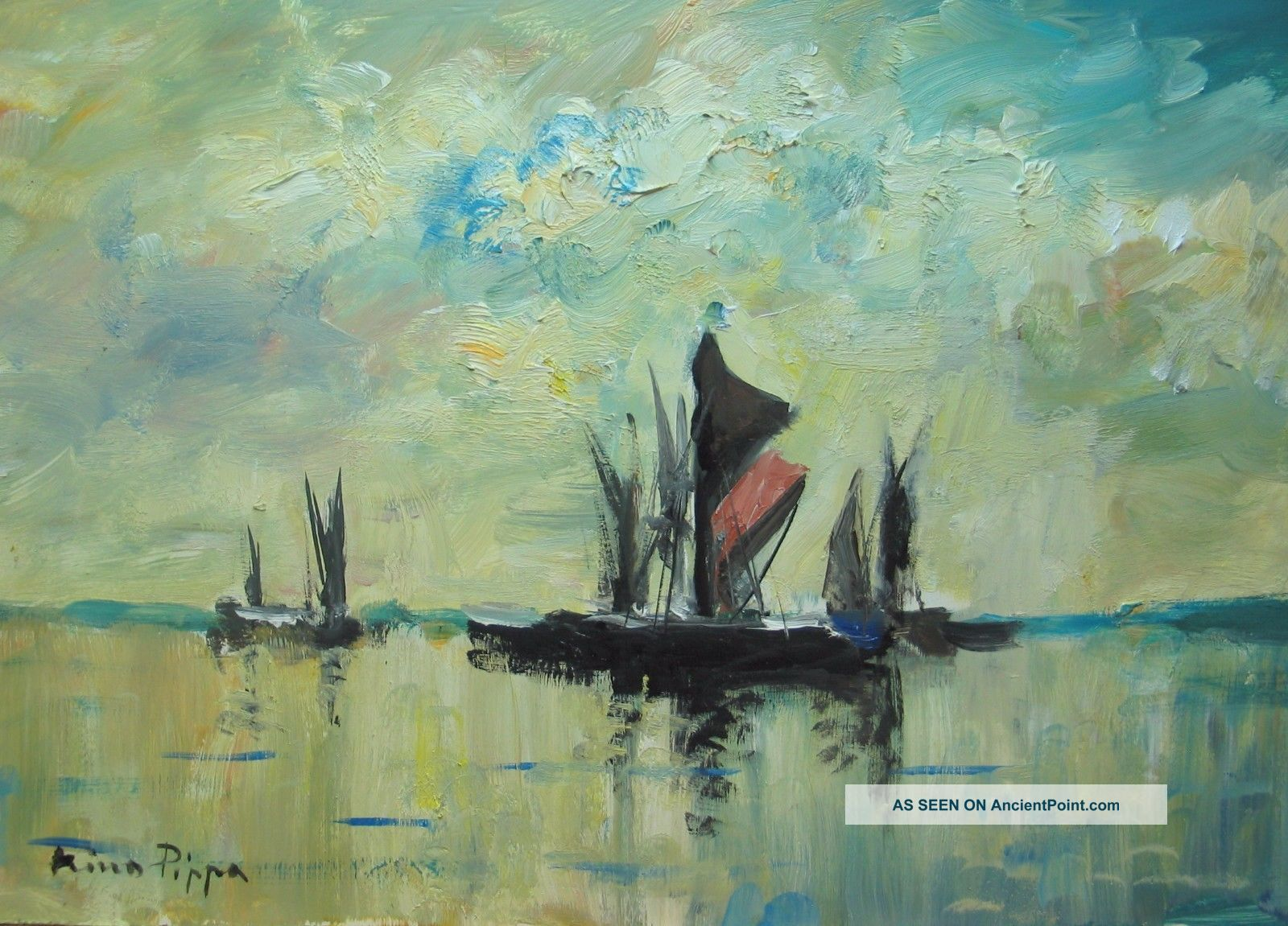 Well Listed American Artist U.  K.  Seascape Painting Of Barges On The Thames Nr Other Maritime Antiques photo