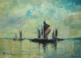 Well Listed American Artist U.  K.  Seascape Painting Of Barges On The Thames Nr photo