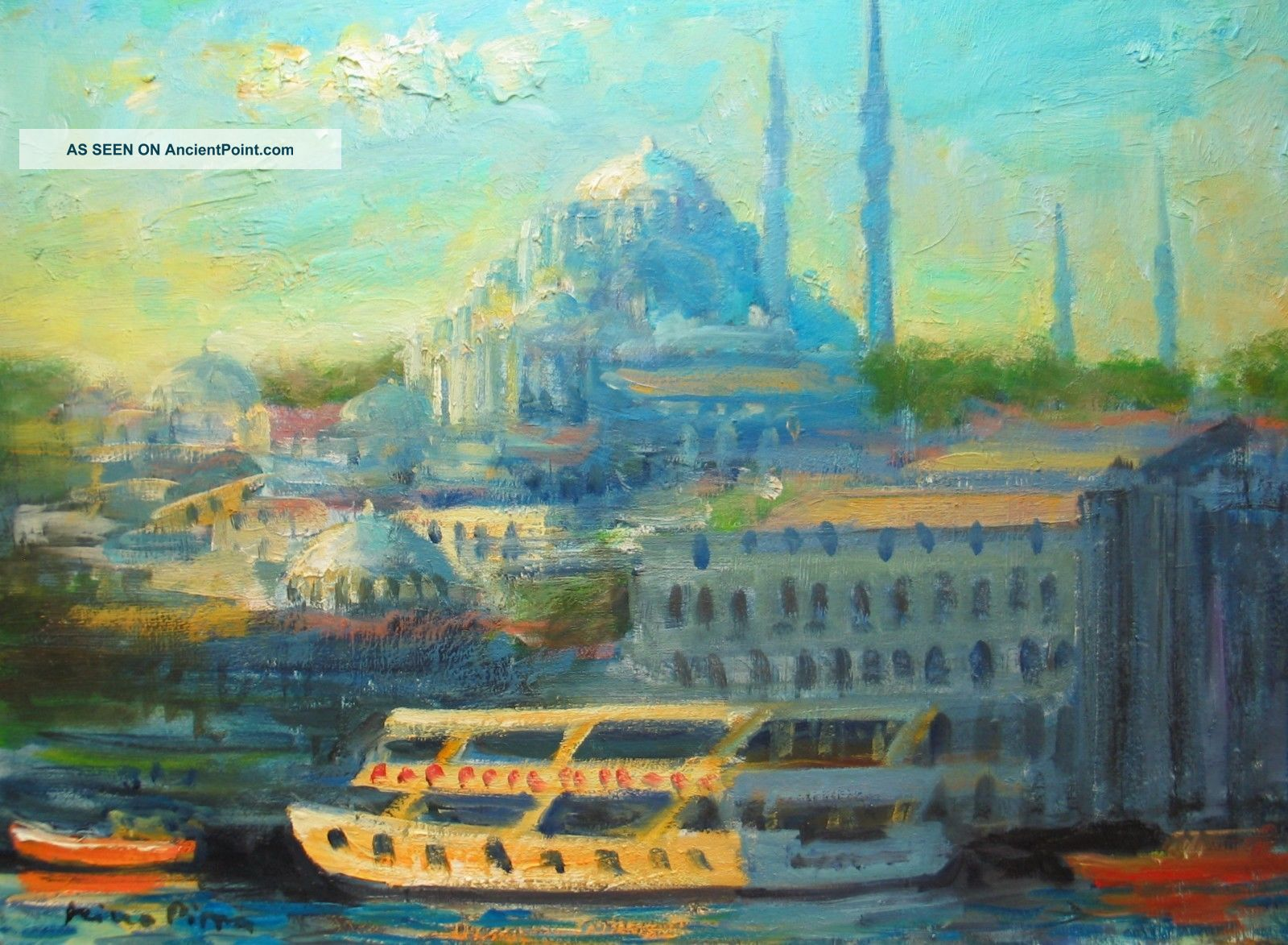 Istanbul Painting By Well Listed American Impressionist Orientalist Other Maritime Antiques photo