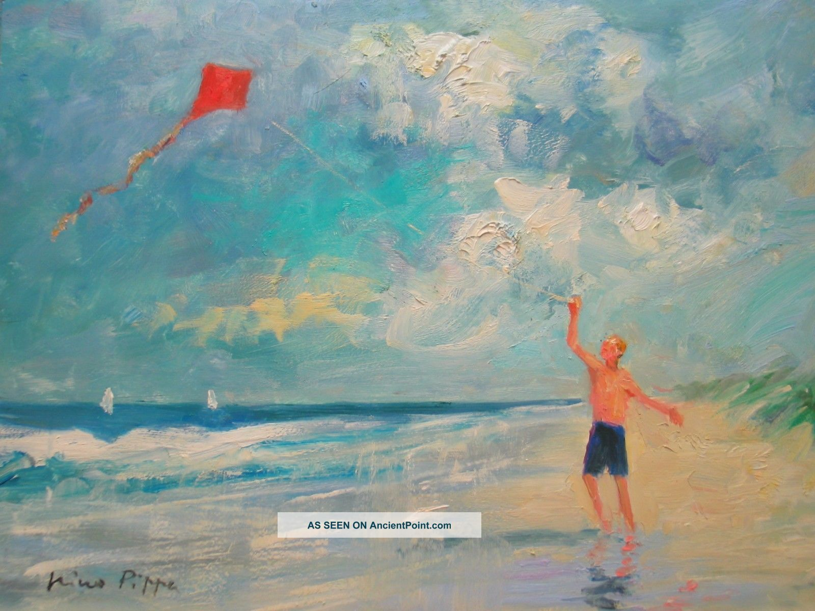 Well Listed American Impressionist Seascape Boy W/ Kite Oil Painting Other Maritime Antiques photo
