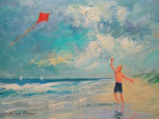 Well Listed American Impressionist Seascape Boy W/ Kite Oil Painting photo