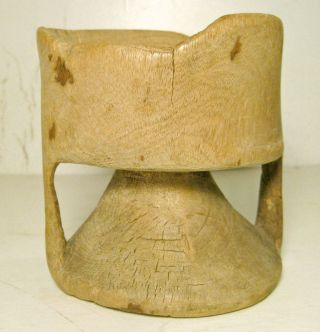 Carved Wood African Mortar Cup Primitive Antique Well Worn Bowl True Age photo