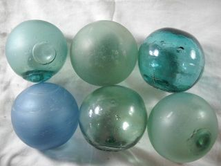 6 Vintage Japanese Flawed And Abused Beach Combed Glass Floats photo