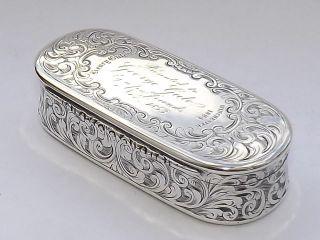 Splendid Antique Mid 19th Century Solid Sterling Silver Snuff Box - Birmigham 1851 photo