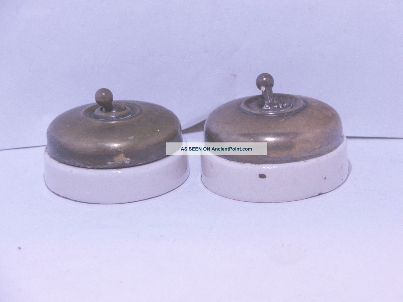 2 Vintage Brass And Ceramic Toggle Light Switch Crabtree C2000 Vitreous Light Switches photo