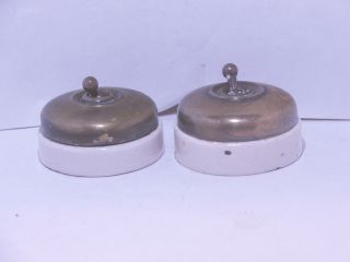 2 Vintage Brass And Ceramic Toggle Light Switch Crabtree C2000 Vitreous photo