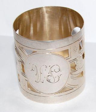 Imperial Russian Silver Napkin Ring Bright Cut Pierced Decoration photo