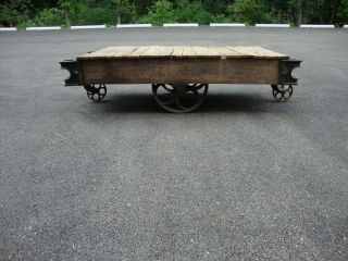 Antique Factory Railroad Industrial Cart Coffee Table Steampunk Vintage photo