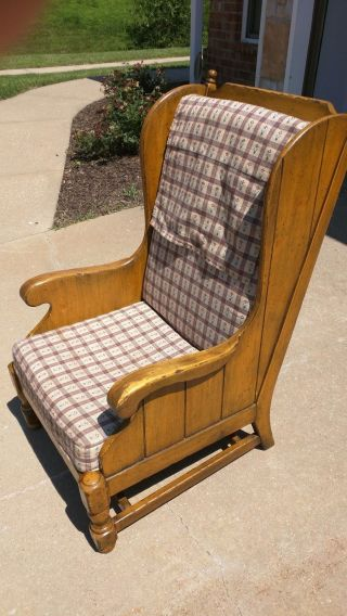 Vintage 1976 Ethan Allen High Back Library Chair Rare Country Light Wood Tone photo