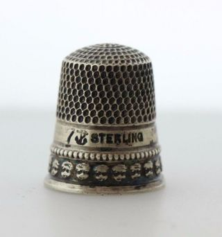 Antique Stern Brothers Sterling Silver Sewing Thimble - Size 7 photo